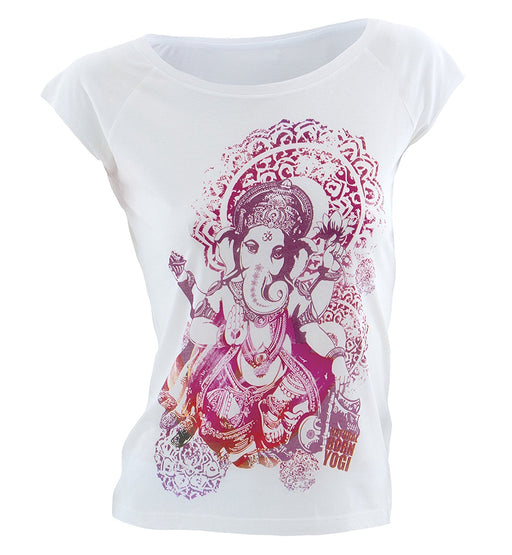 Natural Born Yogi Groovy Ganesha Womens Yoga Shirt - L, White