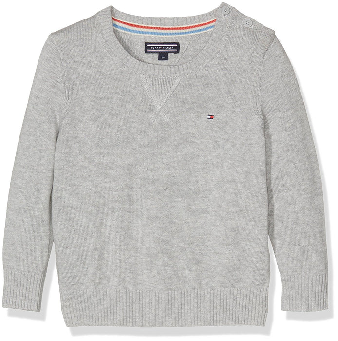 Tommy Hilfiger Baby Girls' Basic Htr Cn Sweater L/S Jumper, Grigio (Grey Heather 004), 86 cm