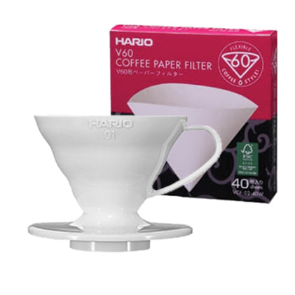 Hario V60 single cup plastic dripper & pack of 40 paper filters