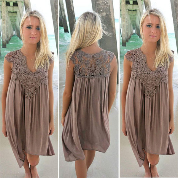 GLADIATOR Sleeveless Loose Beach Lace Dress