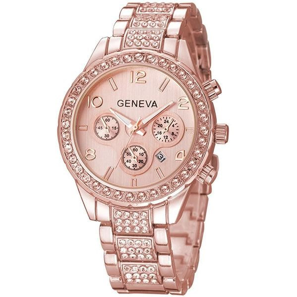 GLADIATOR GEVENIEVE Luxury Pave Floating Crystal Rose Gold Stainless Steel Watch