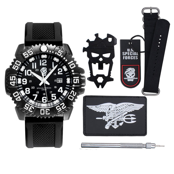 GLADIATOR SEAL Survival Tactical Swiss Watch With Compass And Paracord Band