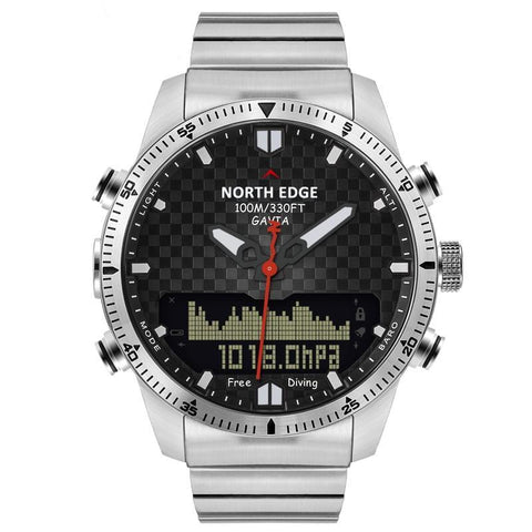 GRADIATOR NORTH EDGE Dive Sports Digital Military Full Steel Business Waterproof Compass Watch