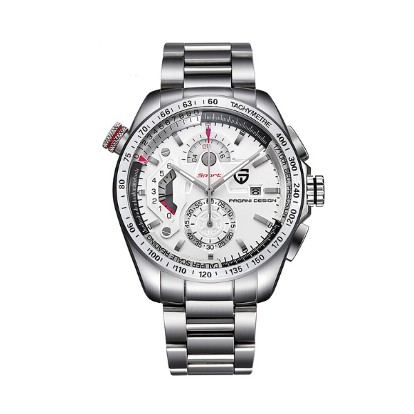 GLADIATOR ARGENTUM Silver Plate Men's Watch with Auto Calendar and Chronograph
