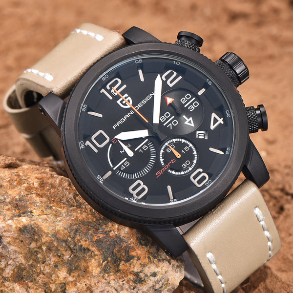 GLADIATOR PEGASUS Men's Quartz Outdoor Sports Watch with Leather Band, Chronograph and Calendar