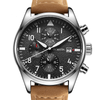 GLADIATOR WARRIOR Men's Pilot / Military Watch with Chronograph 6 Hands Leather Strap