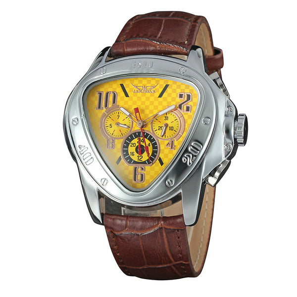 GLADIATOR PRISM Men's Wristwatch with Triangular Case and Leather Strap