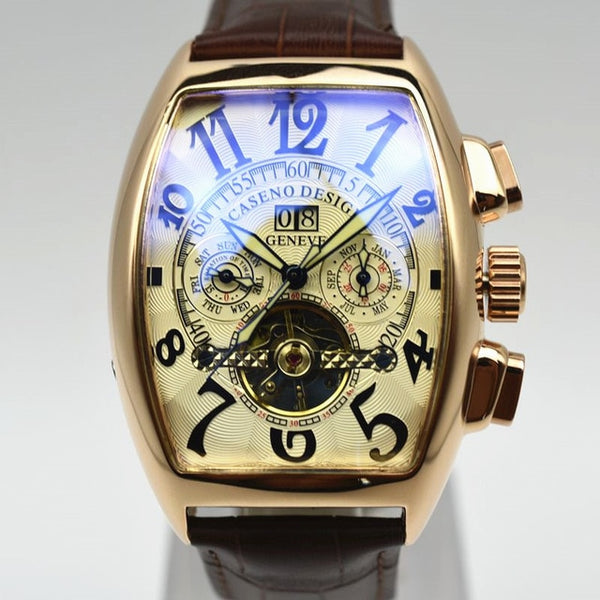 GLADIATOR TIBERIUS Tourbillon Automatic Mechanical Skeleton Chronograph Men Leather Watch