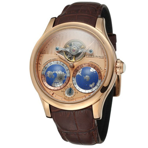 GLADIATOR GLOBE MASTER Men's Luxury World Map 17-Jewels Movement Watch