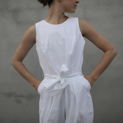 SLEEVELESS JUMPSUIT | WHITE LINEN
