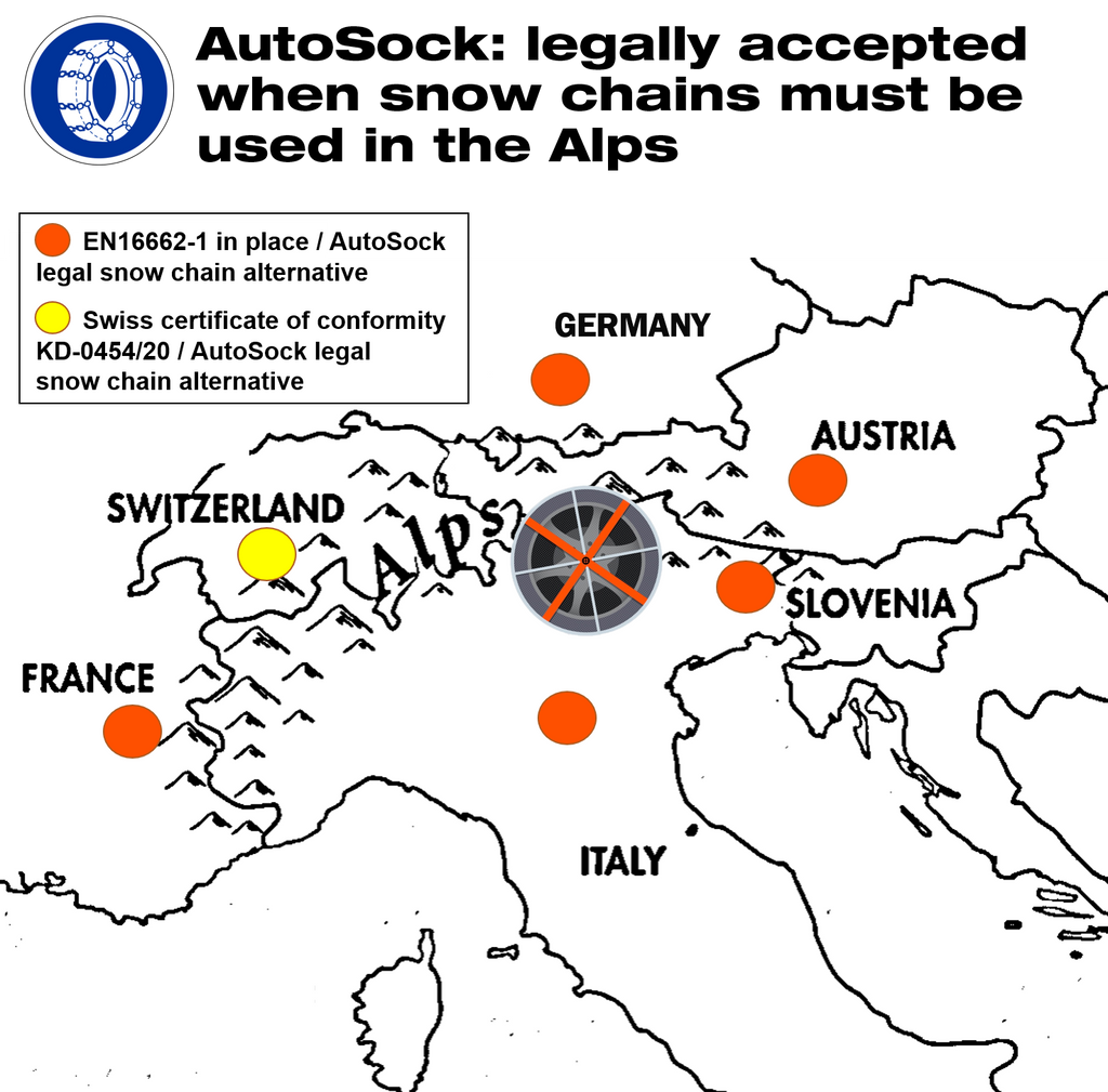 Map shows where AutoSock is legally accepted when snow chains are required in the Alps