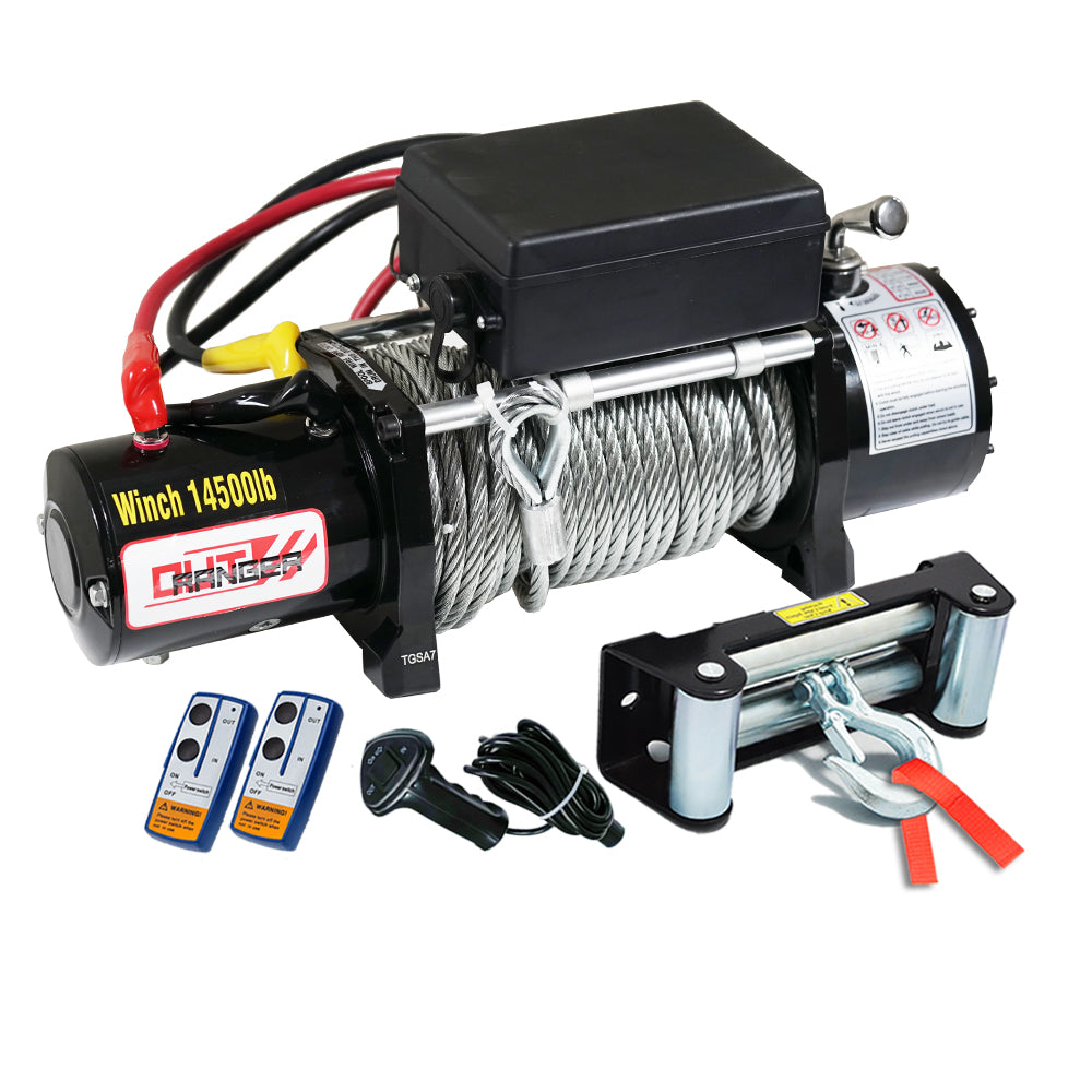 12V 14500LBS STEEL CABLE ELECTRIC WINCH WIRELESS REMOTE 4WD TRUCK OFFROAD 6577KG V13-WIN14500