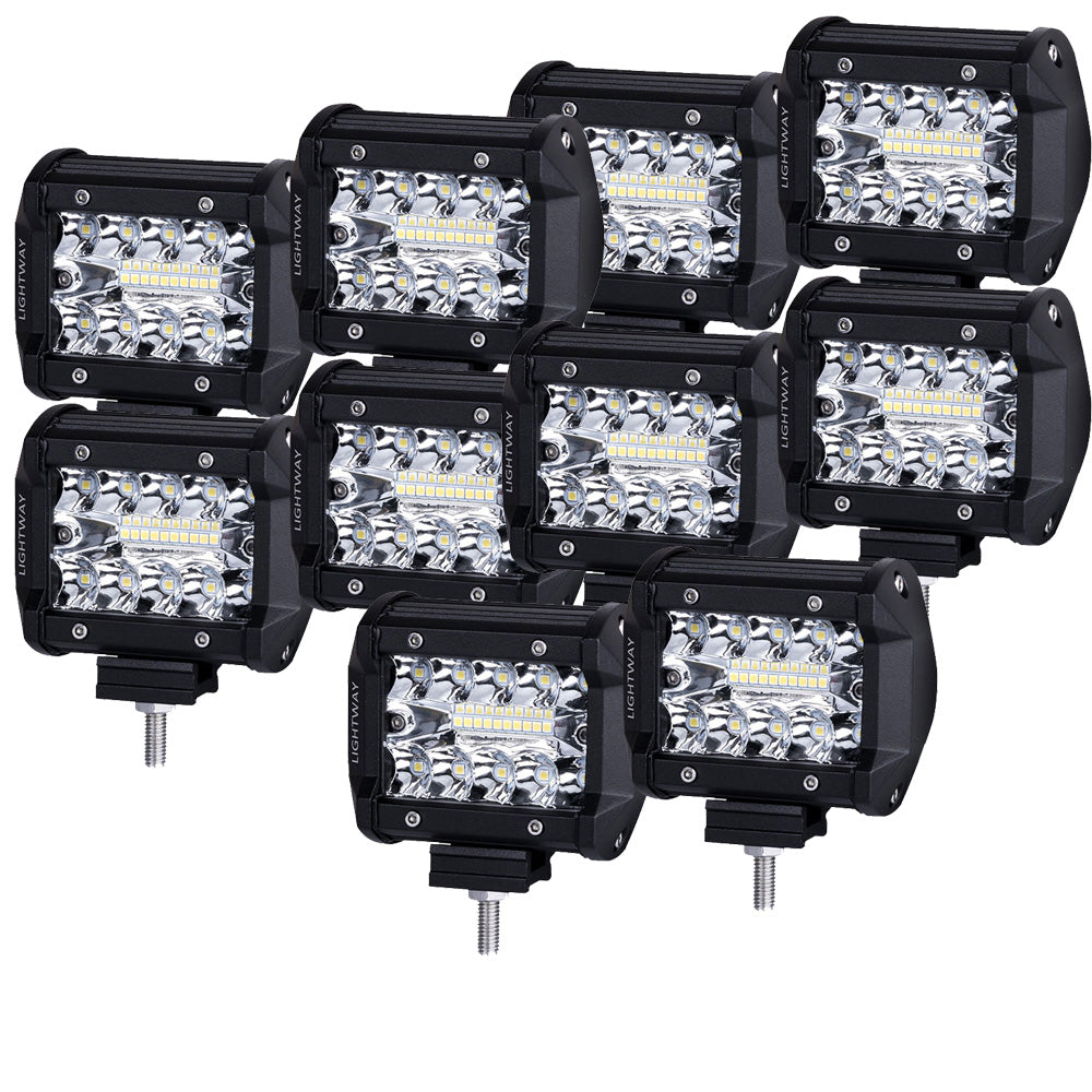 10X 4inch LED Work Light Spot Flood Tri Row Offroad 4WD Truck Boat SUV Jeep Ford V13-93S-FS4S*10
