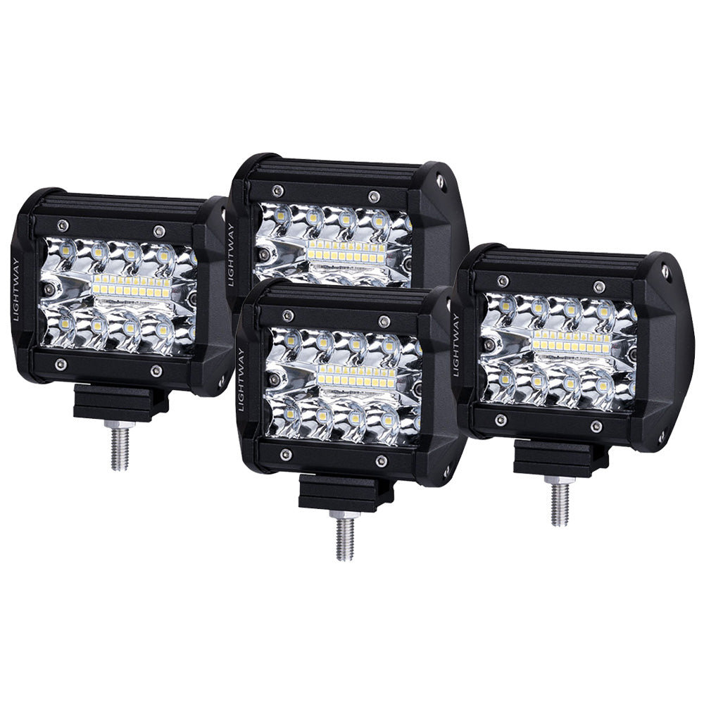 4x 4 inch CREE LED Work Light Bar Spot Flood OffRoad Driving 4WD 4x4 Reverse  V13-93S-FS4S*4