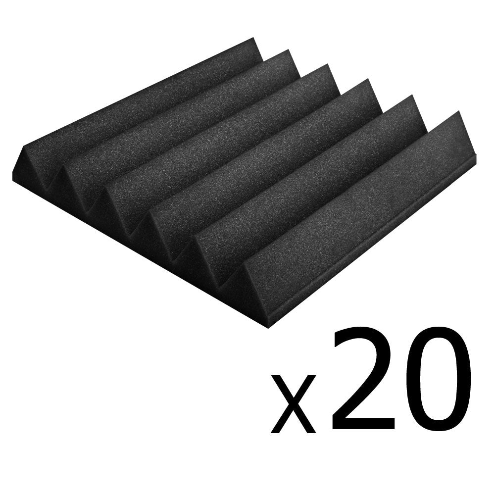 Set of 20 Studio Wedge Acoustic Foam Black 30 x 30cm AF-WE-12T-30-BL-20