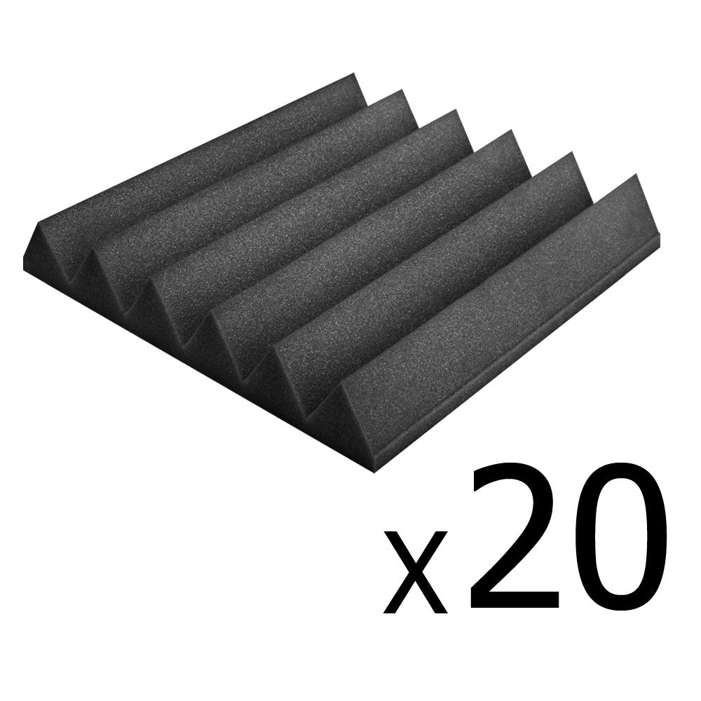 Set of 20 Studio Wedge Acoustic Foam Charcoal 30 x 30cm AF-WE-12T-30-CH-20