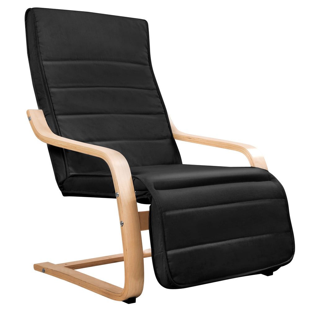 Birch Bentwood Adjustable Lounge Arm Chair w/ Fabric Cushion Black ARMCHAIR-02-BK