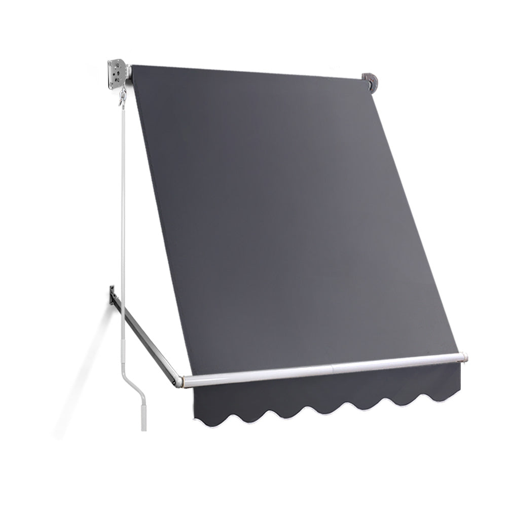 1.5m x 2.1m Retractable Fixed Pivot Arm Awning - Grey AWN-FIXED-PS-15-GREY