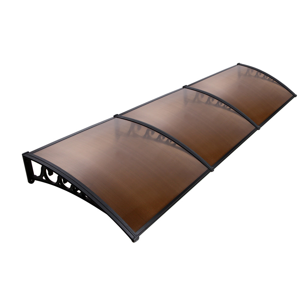 DIY Window Door Awning Cover Brown 100 x 300cm AWN-PC6-1X3-BR