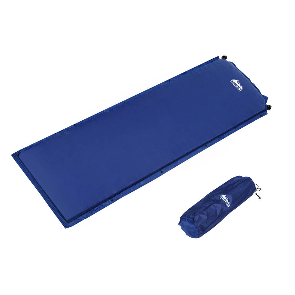 Self inflating Mattress Single 6cm Blue CAMP-MAT-INF-SIN-NA