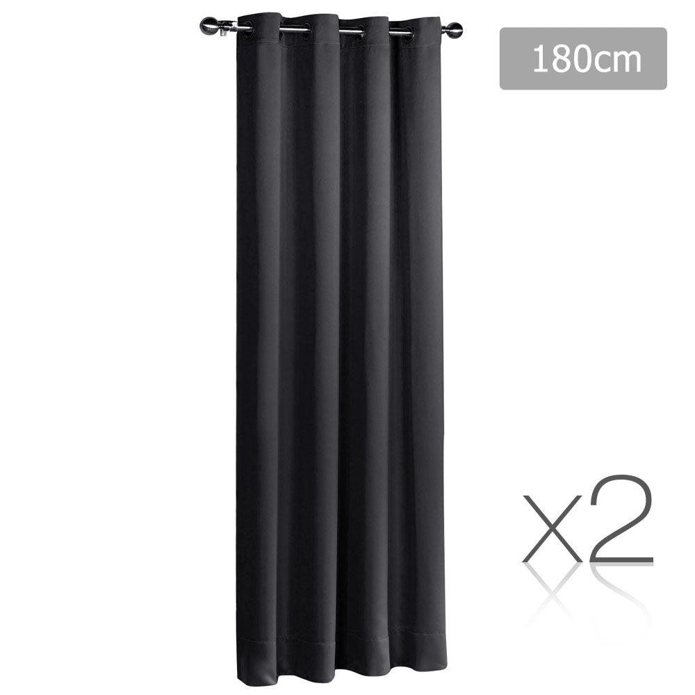 2 Panel 180 x 230cm Block Out Curtains - Black CURTAIN-180-BK-X2