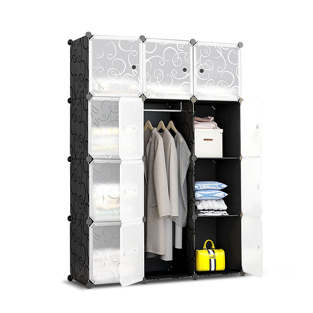 12 Cube Portable Storage Cabinet Wardrobe - Black DIY-B-STORAGE-12-BK