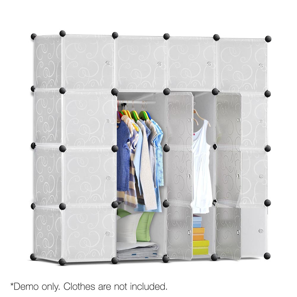 16 Cube Storage Cabinet with Hanging Bars - White DIY-STORAGE-16-WH