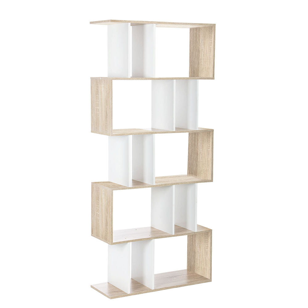 5 Tier Display/Book/Storage Shelf Unit - White Brown FURNI-GEN2SHELF-AB