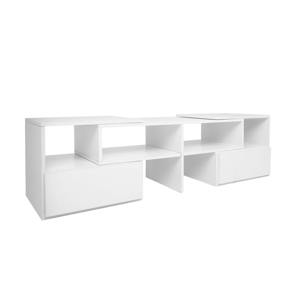 TV Stand Entertainment Unit Adjustable Cabinet White FURNI-TV-175-WH-AB