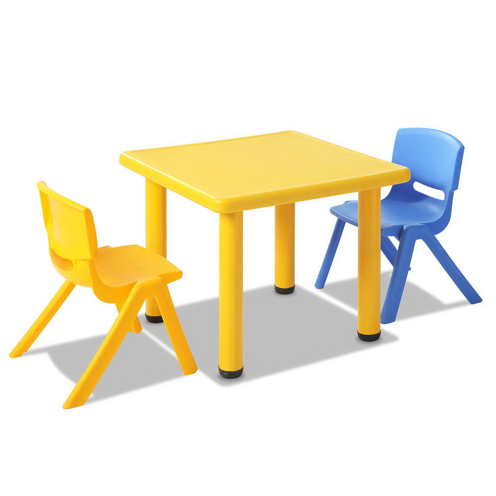 3 Piece Kids Study Table and Chair Set - Yellow KPF-TBCH-YE-3PC
