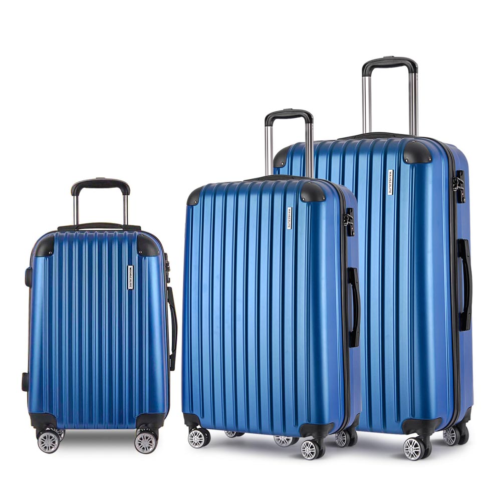 3 Piece Lightweight Hard Suit Case - Blue LUG-ABS-3IN1-BLUE