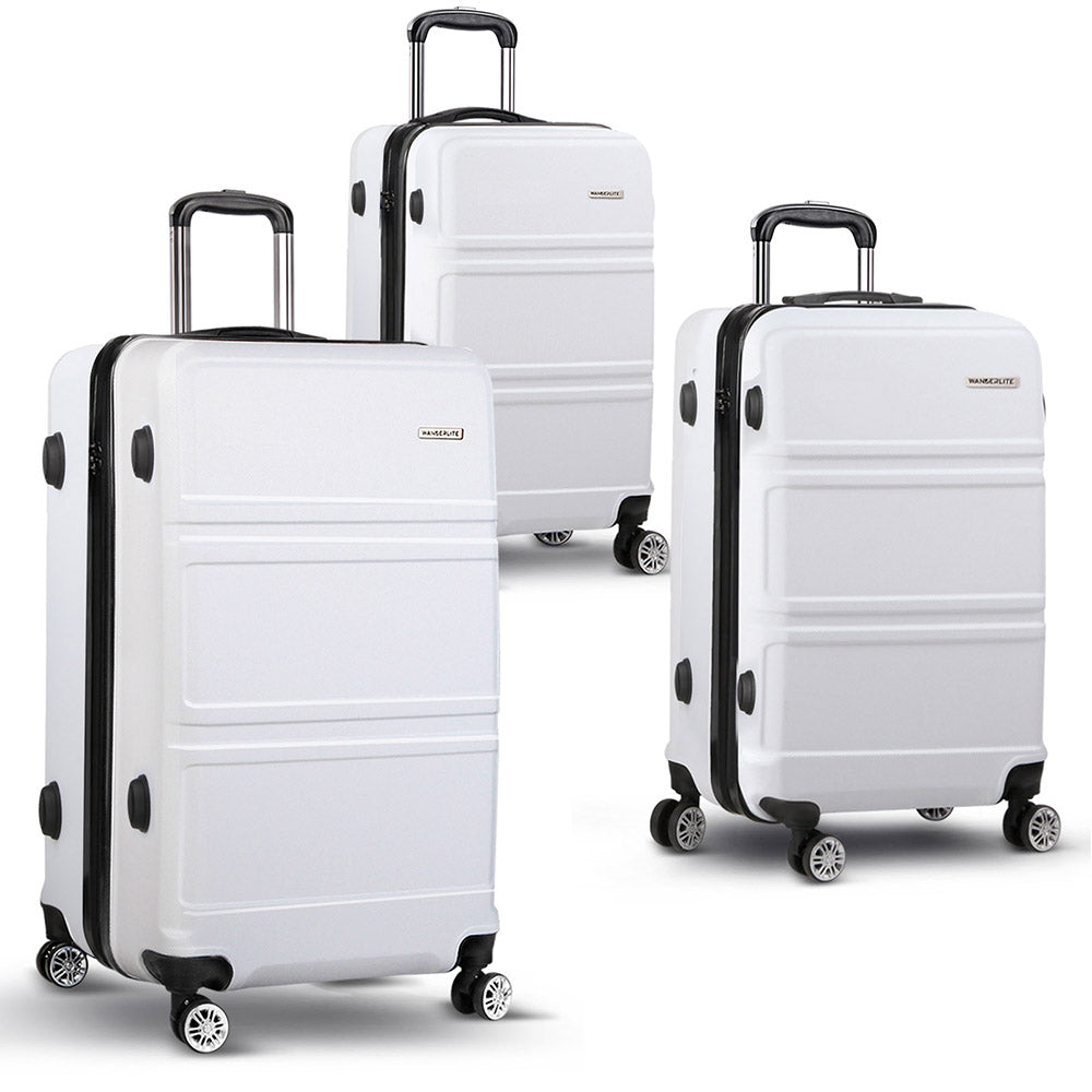 20/24/28inch Lightweight Hard Suit Case -White LUG-ABS-LINE-3IN1-WHITE