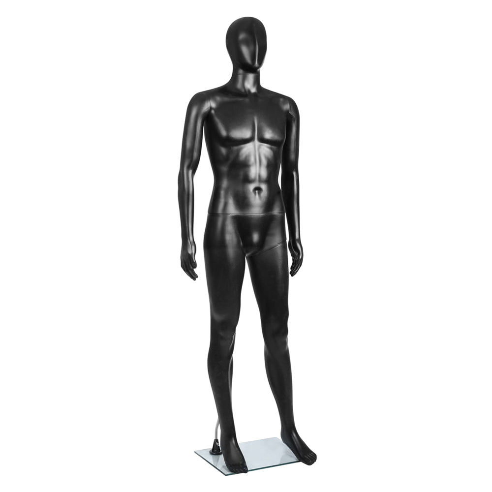 Full Body Male Mannequin Cloth Display Tailor Dressmaker Black 186cm MANNE-MAL-NF-BLACK