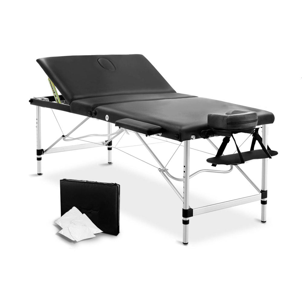 3 Fold Portable Aluminium Massage Table - Black MT-ALUM-GA301-BK-80