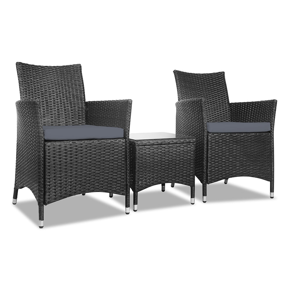 3 Piece Wicker Outdoor Chair Side Table Furniture Set - Black ODF-BISTRO-RATTAN-BK