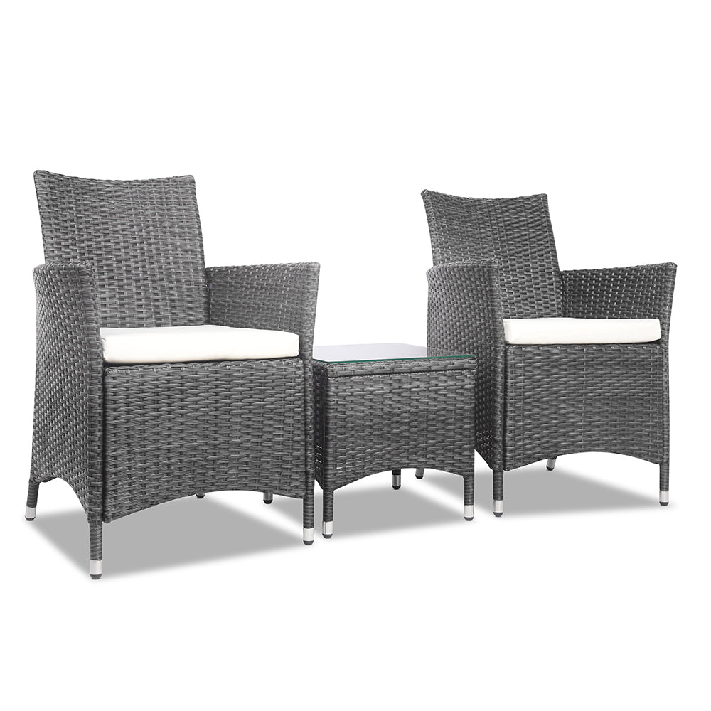 3 Piece Wicker Outdoor Furniture Set - Grey ODF-BISTRO-RATTAN-GE