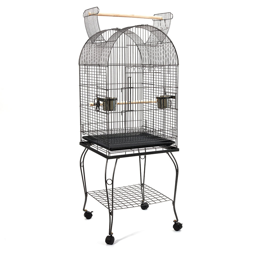 150cm Bird Cage with Stand Alone Budgie  Perch - Black PET-BIRDCAGE-A100-BK