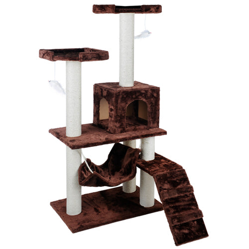150cm Cat Scratching Tree Pole Gym House - Brown PET-CAT-T-HSCT004-BR