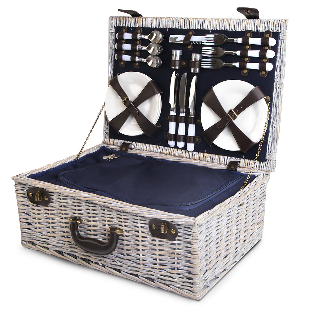 6-Person Wicker Picnic Basket Blue PICNIC-6PPL-COOLER-NAVY