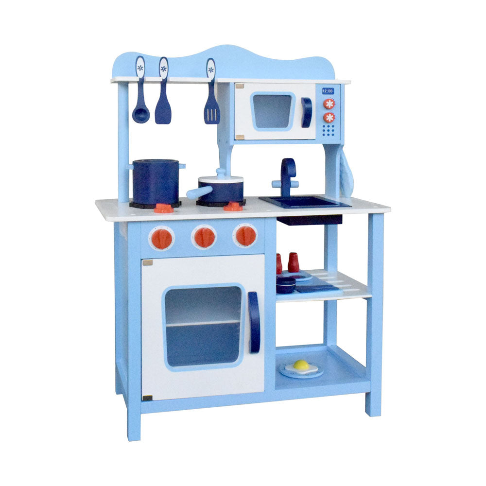 18 Piece Kids Wooden Pretend Kitchen Play Set - Blue PLAY-WOOD-STAND-BLUE
