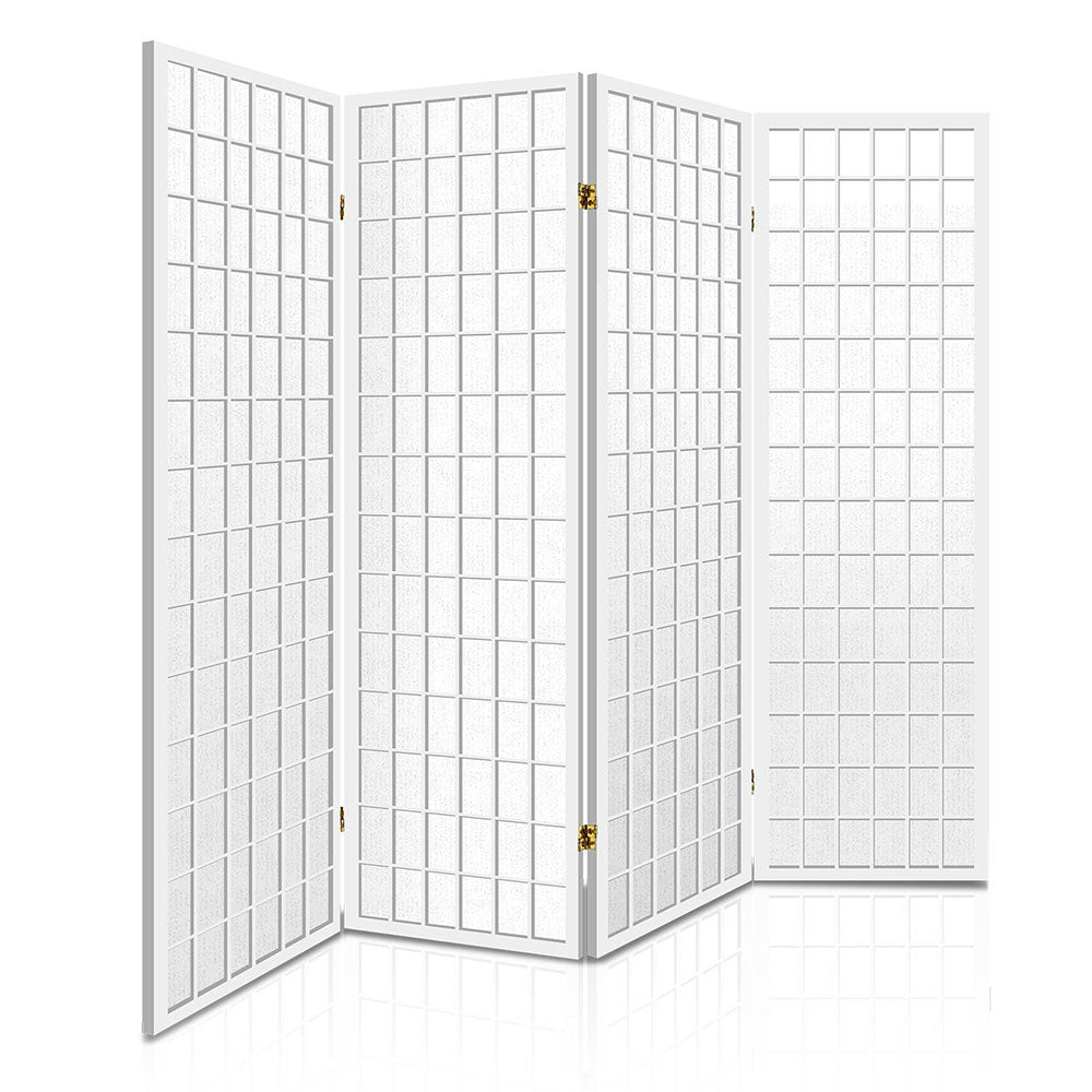 4 Panel Wooden Room Divider - White RD-4019-4P-WH