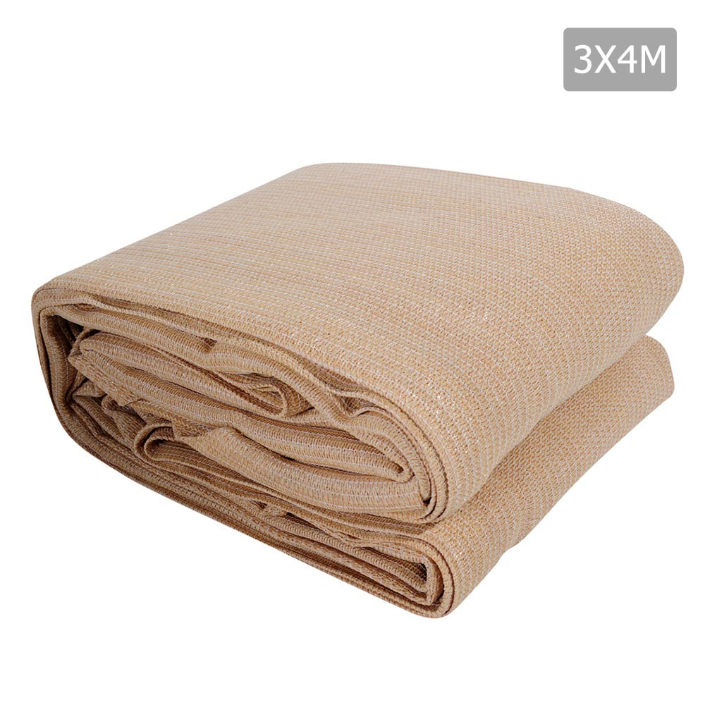 3 x 4m Rectangle Heavy Duty Shade Sail Cloth - Sand Beige SAIL-185-3X4-A-SAND