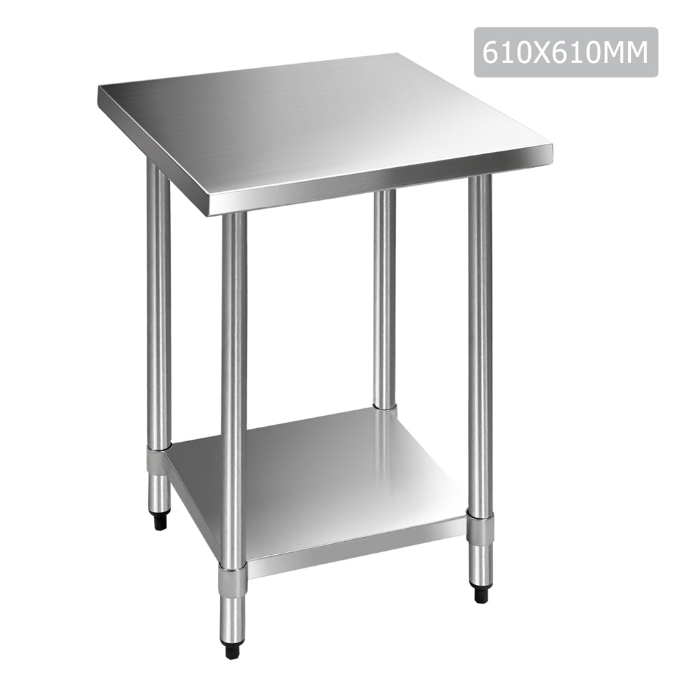 610 x 610m Commercial Stainless Steel Kitchen Bench SSKB-430S-24