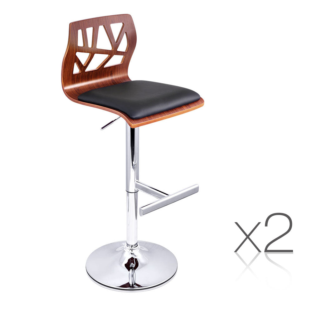Set of 2 PU Leather Wooden Kitchen Bar Stool Padded Seat Black BA-TW-8089-BKX2