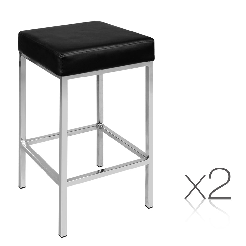Set of 2 PU Leather Kitchen Bar Stool Black BA-TW-NEWT706-BK-X2