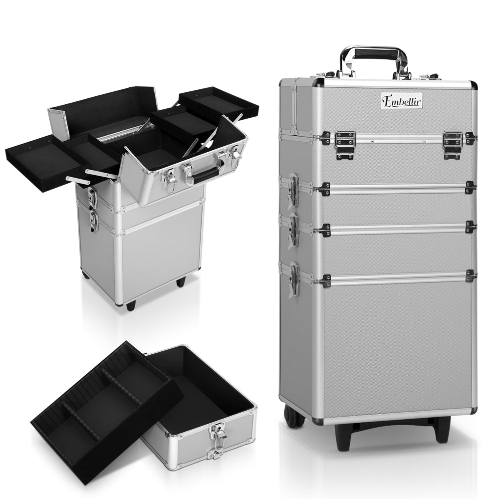 7 in 1 Portable Cosmetic Trolley - Silver CASE-MU-4T-081-SI