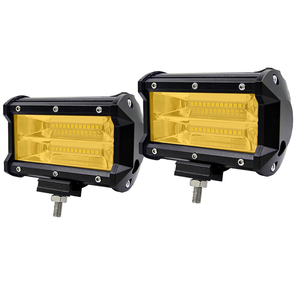 2x 5inch Flood LED Light Bar Offroad Boat Work Driving Fog Lamp Truck Yellow V94-4X4-LTB65Y-5-H