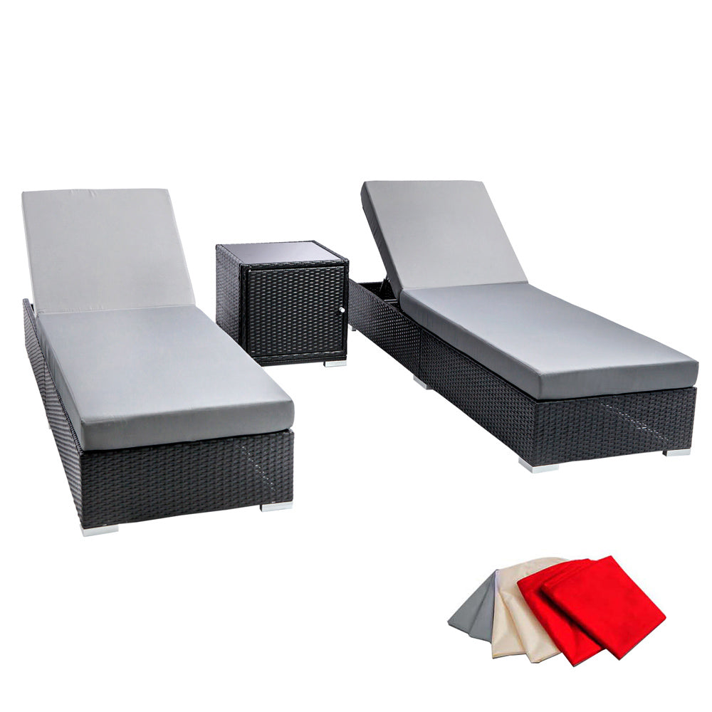 3 Piece Wicker Outdoor Lounge Set - Black FF-LOUNGE-BK-AB