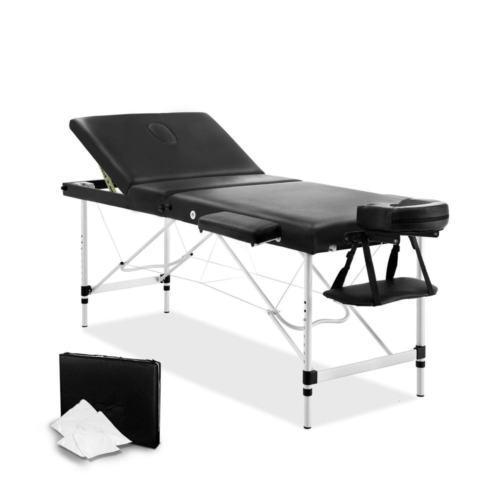Portable Aluminium 3 Fold Massage Table Chair Bed Black 60cm MT-ALUM-F4-BLACK-60