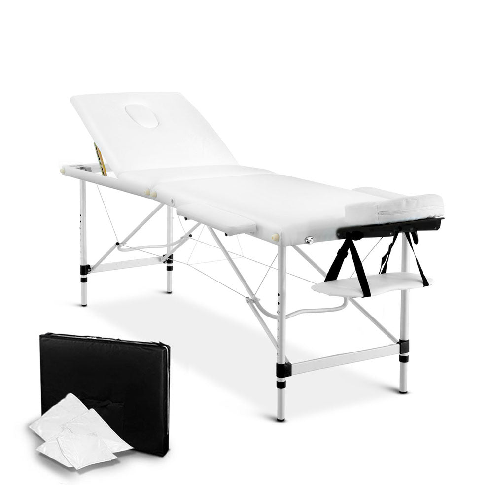 Portable Aluminium 3 Fold Massage Table Chair Bed White 60cm MT-ALUM-F4-WHITE-60
